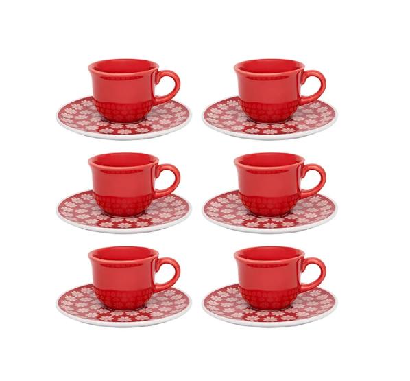 Conjunto 6 Xícaras De Cafezinho Com Pires - Renda- Oxford Daily