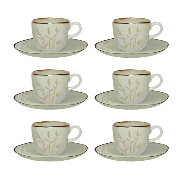 Conjunto 6 Xícaras De Chá 220Ml C/ Pires 16Cm Ryo Bambu - Oxford Porcelanas