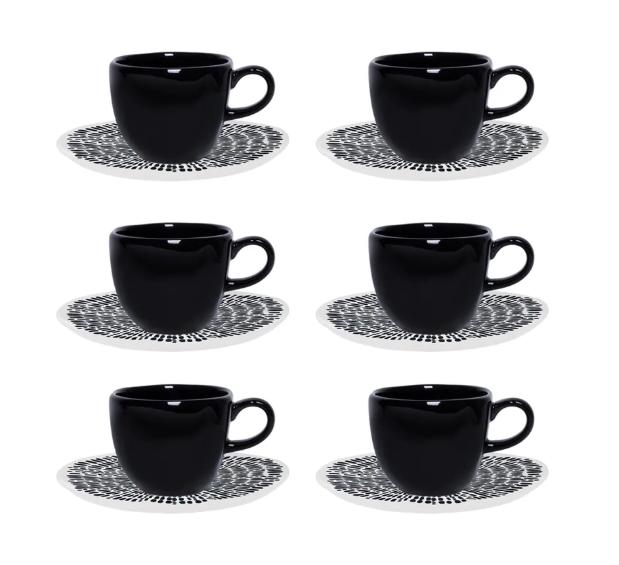 Conjunto 6 Xícaras De Chá 220Ml C/ Pires 16Cm Ryo Ink - Oxford Porcelanas