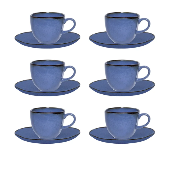 Conjunto 6 Xícaras De Chá 220Ml C/ Pires 16Cm Ryo Santorini - Oxford Porcelanas