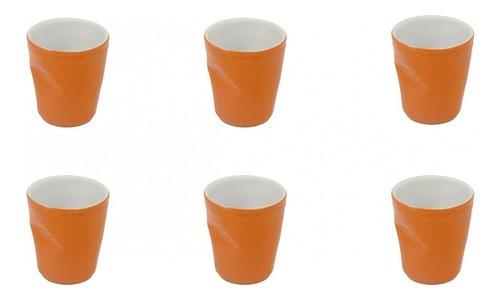 Conjunto C/ 06 Copo De Cerâmica Plastic Espresso 70Ml Laranja