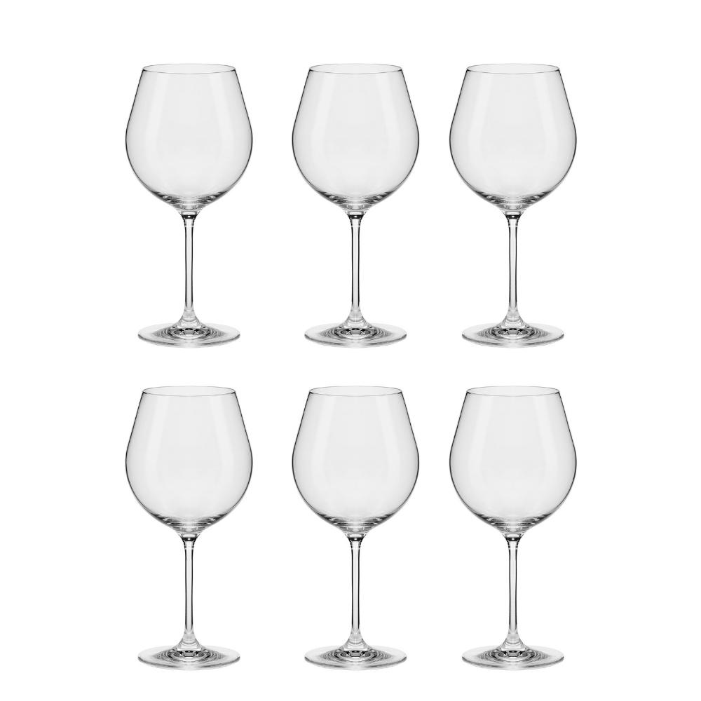 Conjunto C/06 Taças De Cristal Bourgogne 610Ml - Slim Classic- Oxford Alumina Crystal
