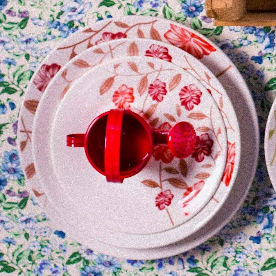 Conjunto C/ 6 Pratos Fundos 22Cm - Actual Vermelho Amor  - Oxford Biona