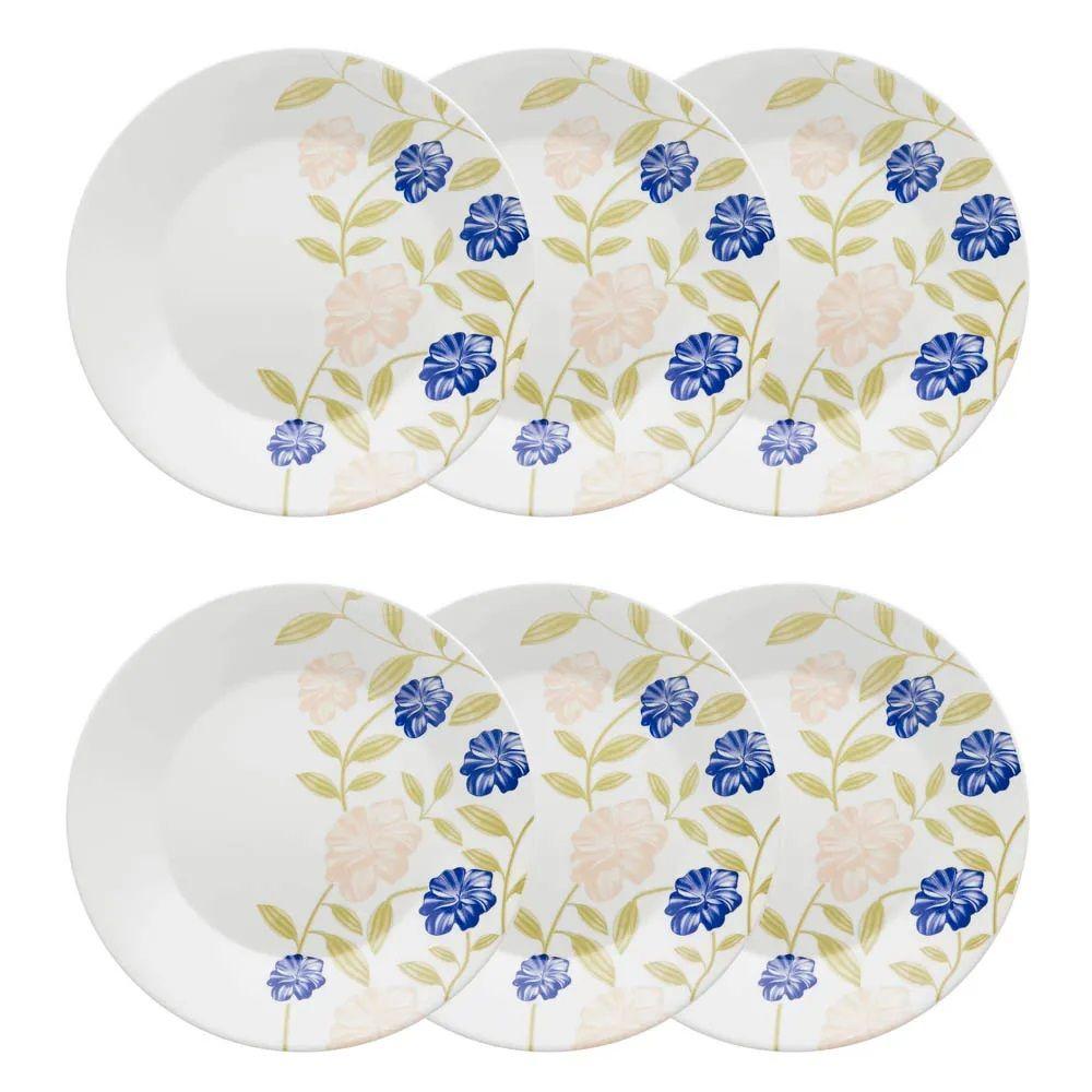Conjunto C/ 6 Pratos Rasos 26Cm - Actual Azul Perfeito  - Oxford Biona