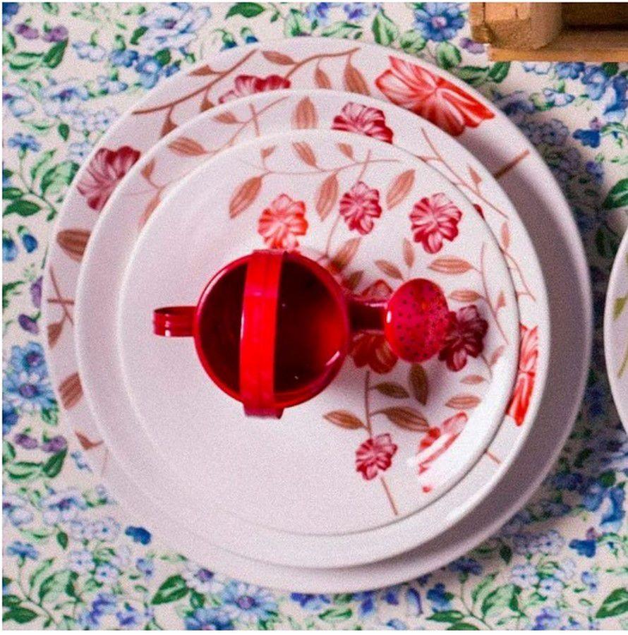 Conjunto C/ 6 Pratos Rasos 26Cm - Actual Vermelho Amor  - Oxford Biona