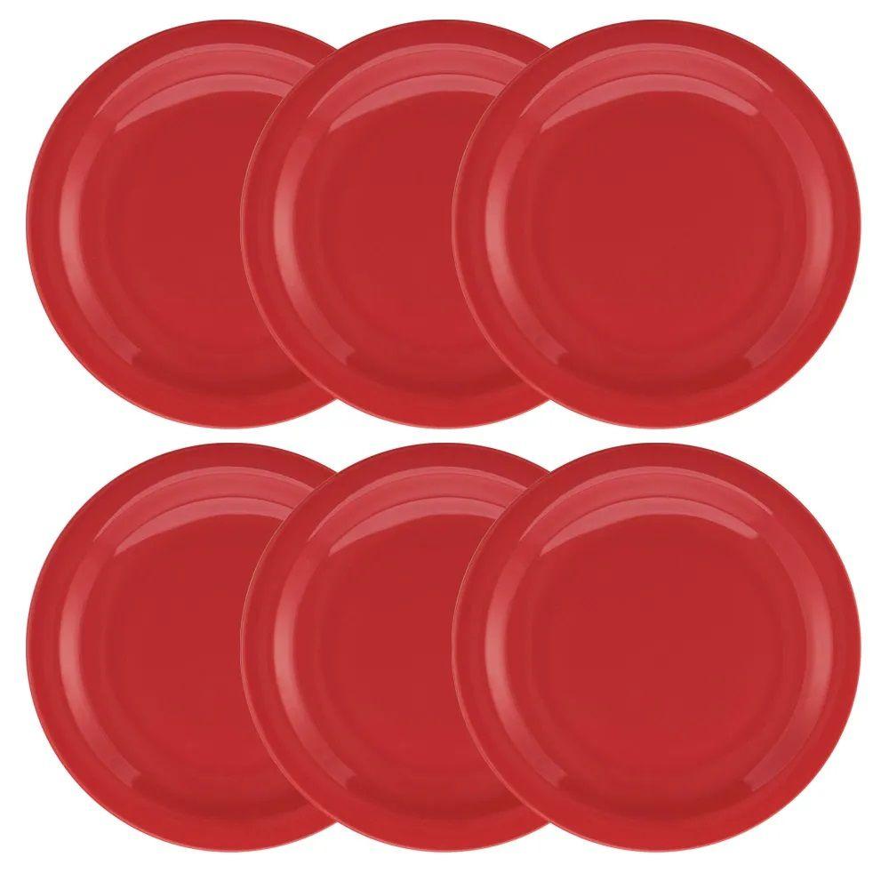 Conjunto C/ 6 Pratos Rasos 26Cm - Floreal Red - Oxford Daily