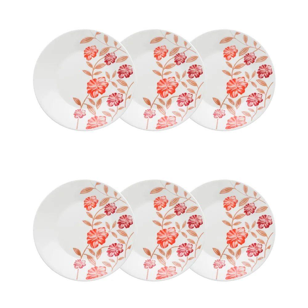 Conjunto C/ 6 Pratos Sobremesa 19Cm - Actual Vermelho Amor - Oxford Biona