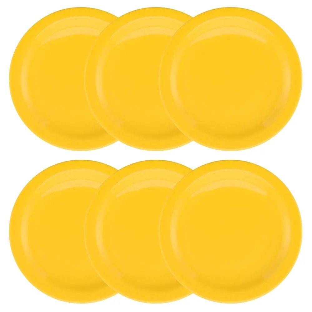 Conjunto C/ 6 Pratos Sobremesa 20Cm - Floreal Yellow - Oxford Daily