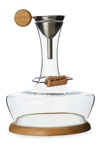 Conjunto Chateau Du Gout Decanter Para Vinho Com Suporte e Funil De Aço e Madeira Legnoart
