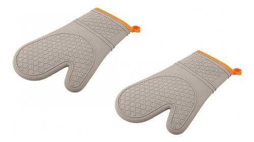 Conjunto Com 02 Luvas Térmicas De Silicone E Tecido - Orange - Oxford
