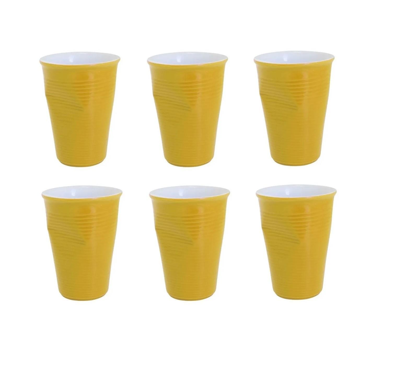 Conjunto Com 06 Copos De Cerâmica Plastic 240Ml Amarelo Ceraflame