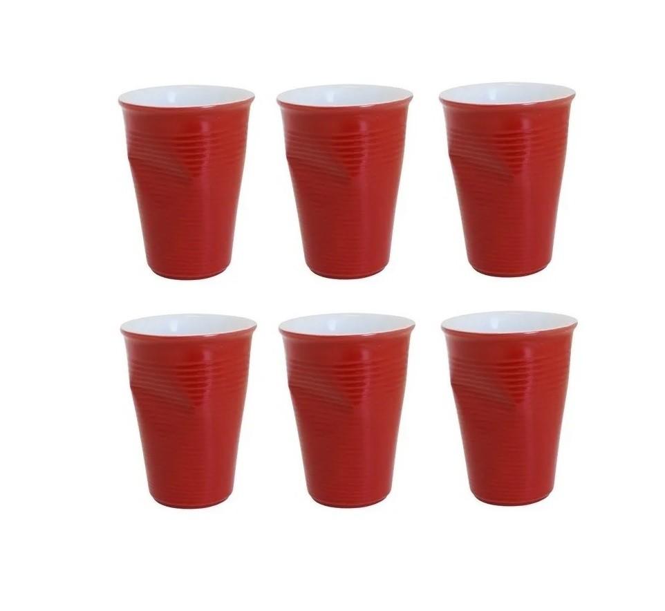 Conjunto Com 06 Copos De Cerâmica Plastic 240Ml Vermelho Ceraflame