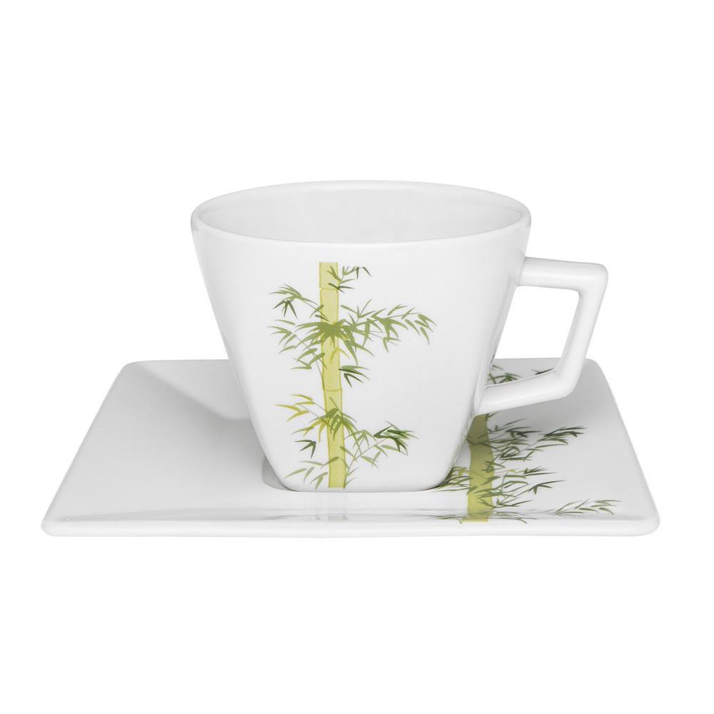 Conjunto Com 06 Xícaras De Chá 200Ml Com Pires 14 Cm -  Quartier Bamboo - Oxford Daily