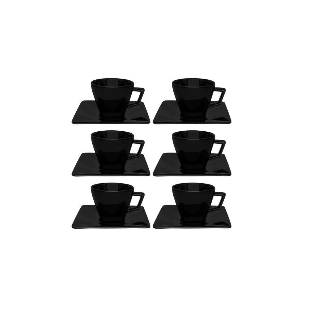 CONJUNTO COM 06 XÍCARAS DE CHÁ 200ML COM PIRES 14 CM -  QUARTIER BLACK - OXFORD DAILY