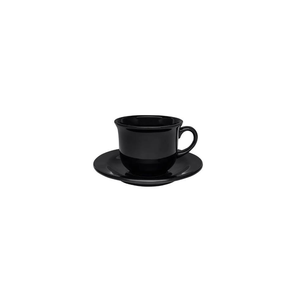 Conjunto Com 06 Xícaras De Chá 200Ml Com Pires 15Cm - Floreal Black - Oxford  Daily