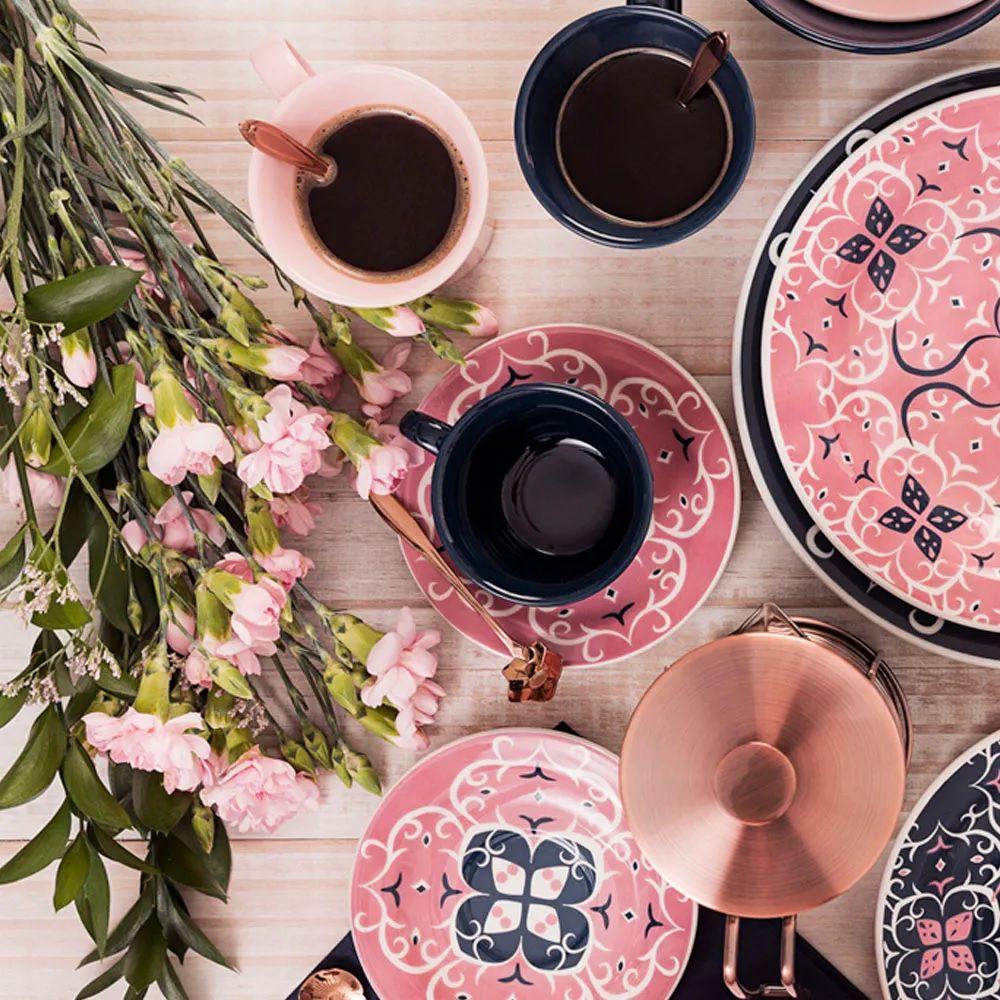 Conjunto Com 06 Xícaras De Chá 200Ml Com Pires 15Cm - Floreal Hana - Oxford  Daily
