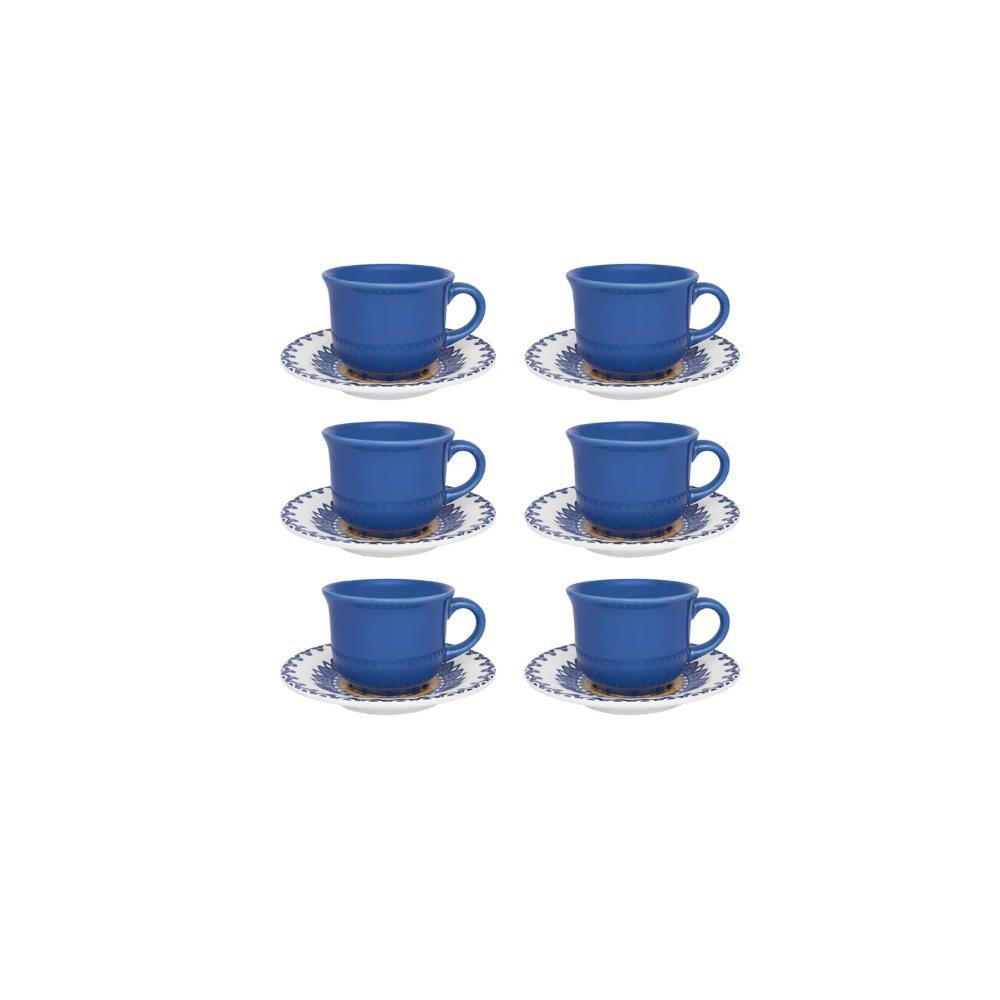 Conjunto Com 06 Xícaras De Chá 200Ml Com Pires 15Cm - Floreal La Carreta - Oxford  Daily