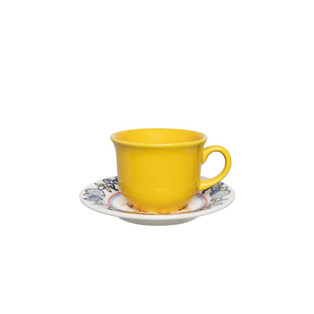Conjunto Com 06 Xícaras De Chá 200Ml Com Pires 15Cm - Floreal La Pollera - Oxford  Daily