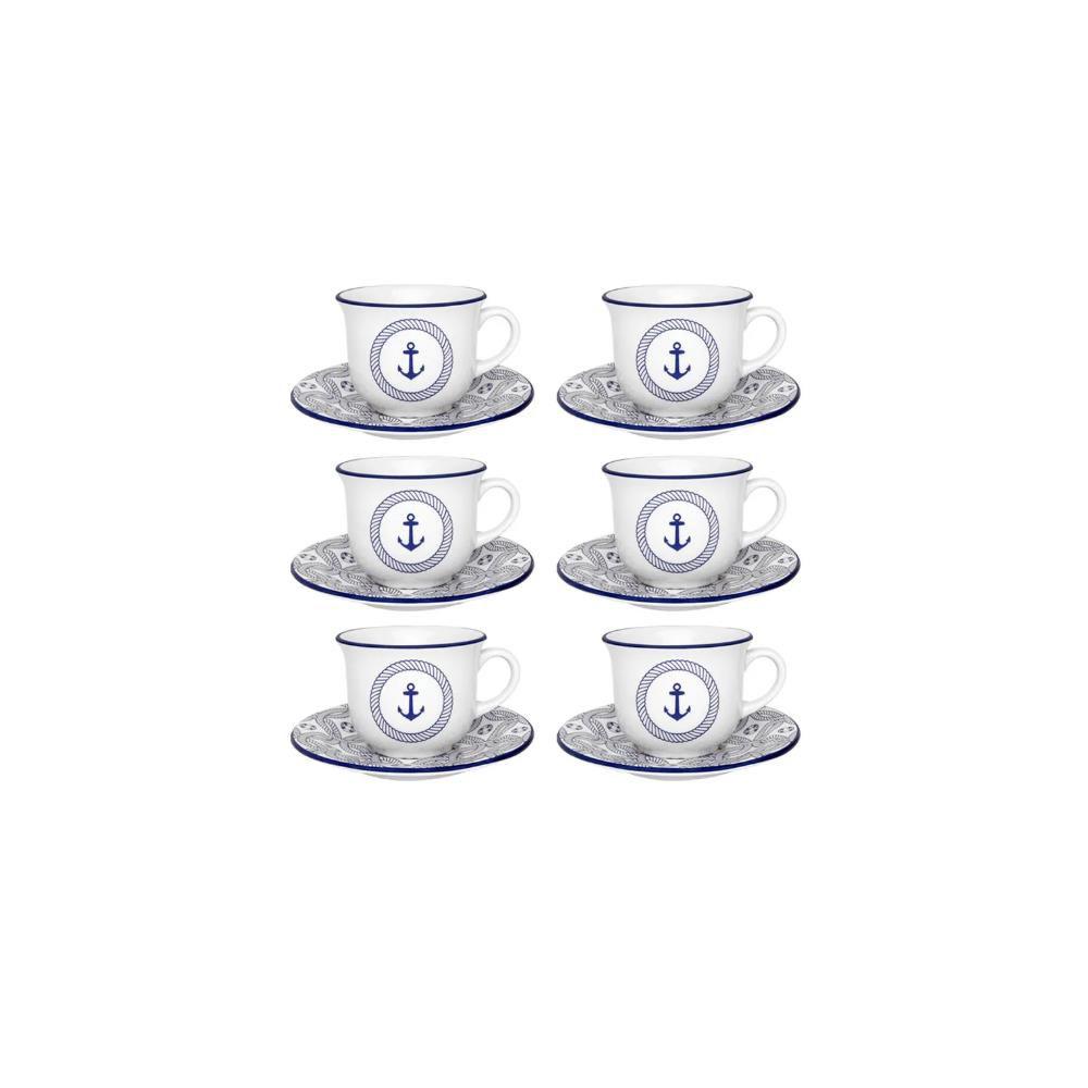 Conjunto Com 06 Xícaras De Chá 200Ml Com Pires 15Cm - Floreal Náutico - Oxford  Daily