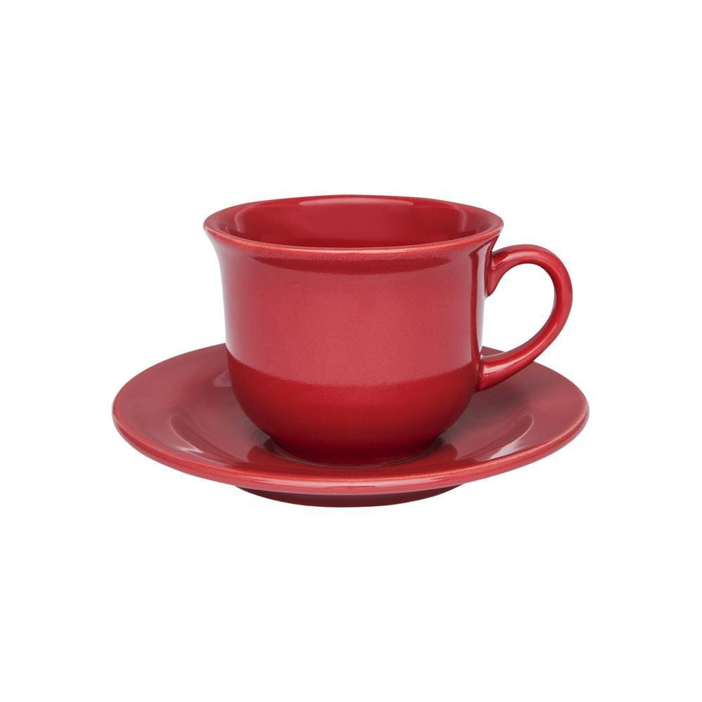Conjunto Com 06 Xícaras De Chá 200Ml Com Pires 15Cm - Floreal Red - Oxford  Daily