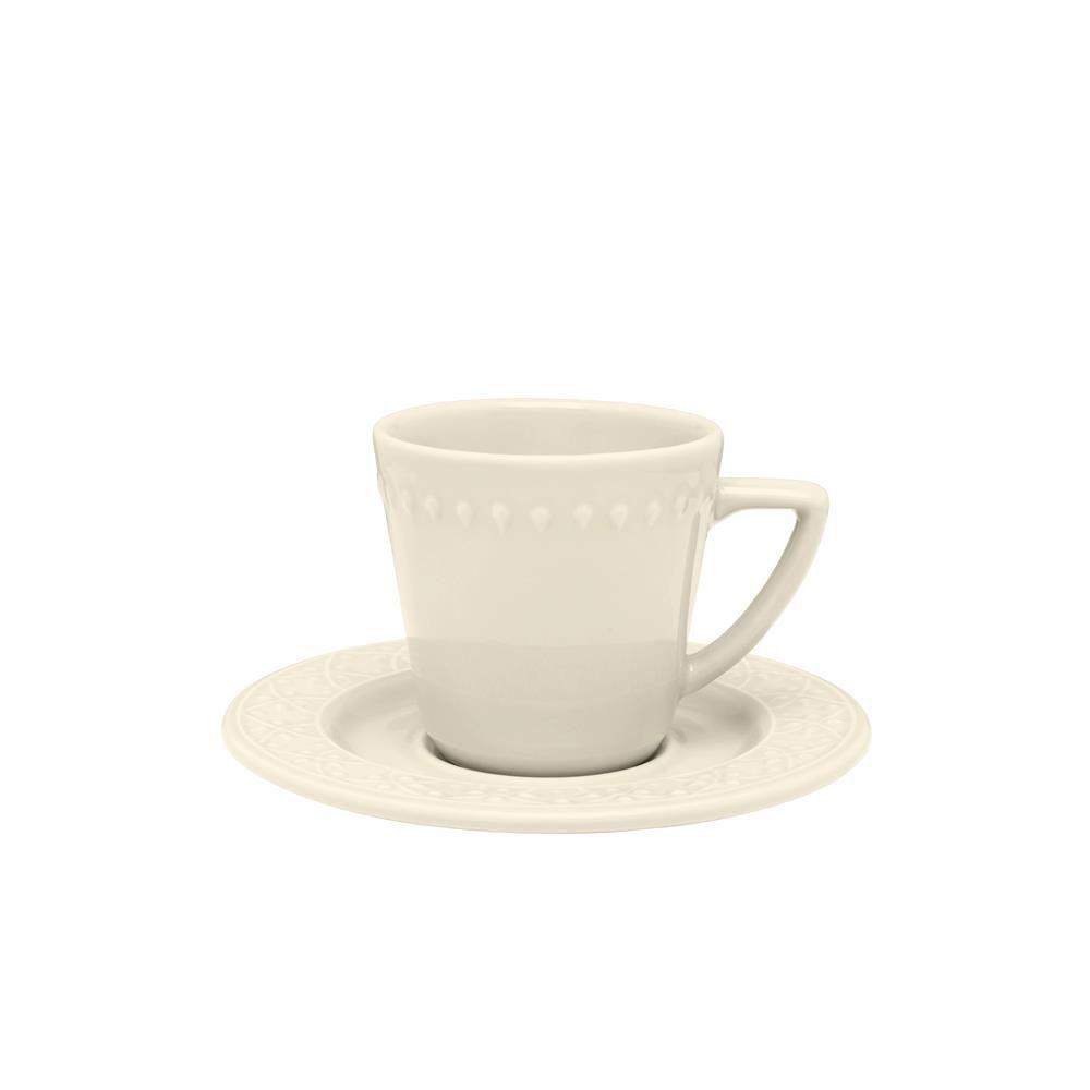 Conjunto Com 06 Xícaras De Chá 220Ml Com Pires 15,5 Cm -  Mendi Marfim - Oxford Daily