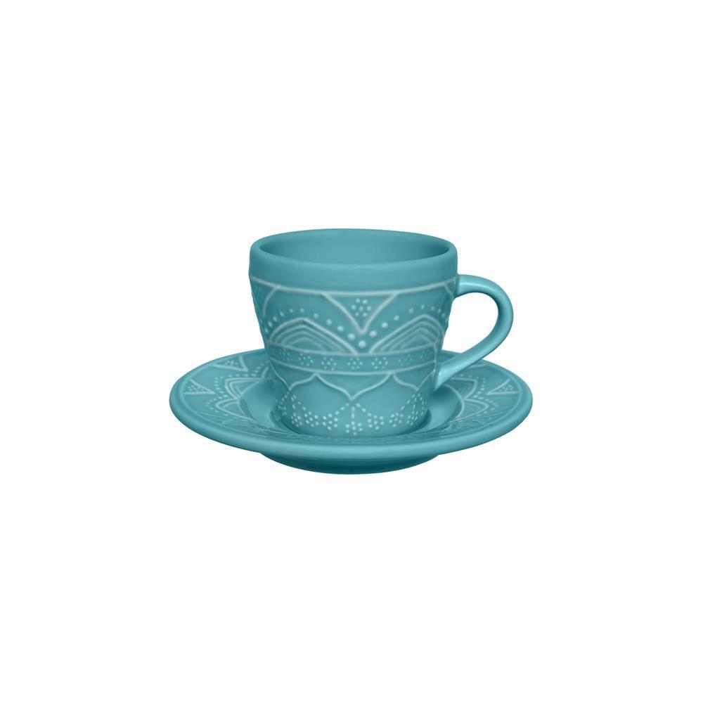 Conjunto Com 06 Xícaras De Chá 220Ml Com Pires 15Cm - Serena Turquesa - Oxford  Daily