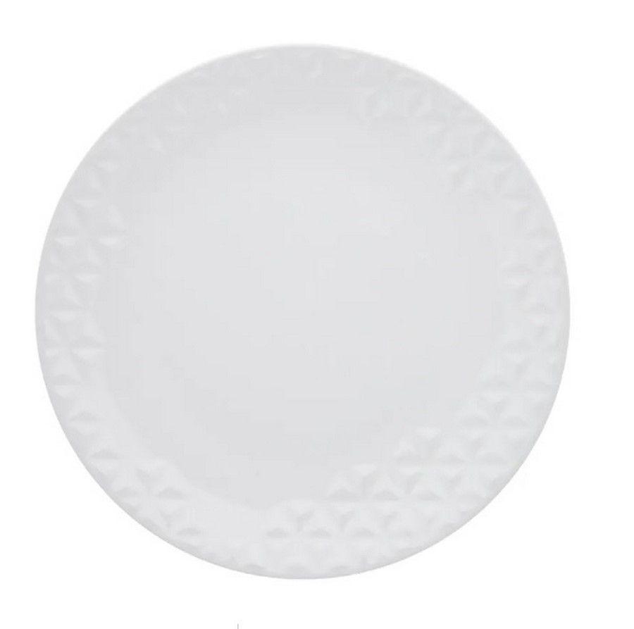 Conjunto Com 12 Pratos Rasos Mia Branco - Oxford Porcelanas