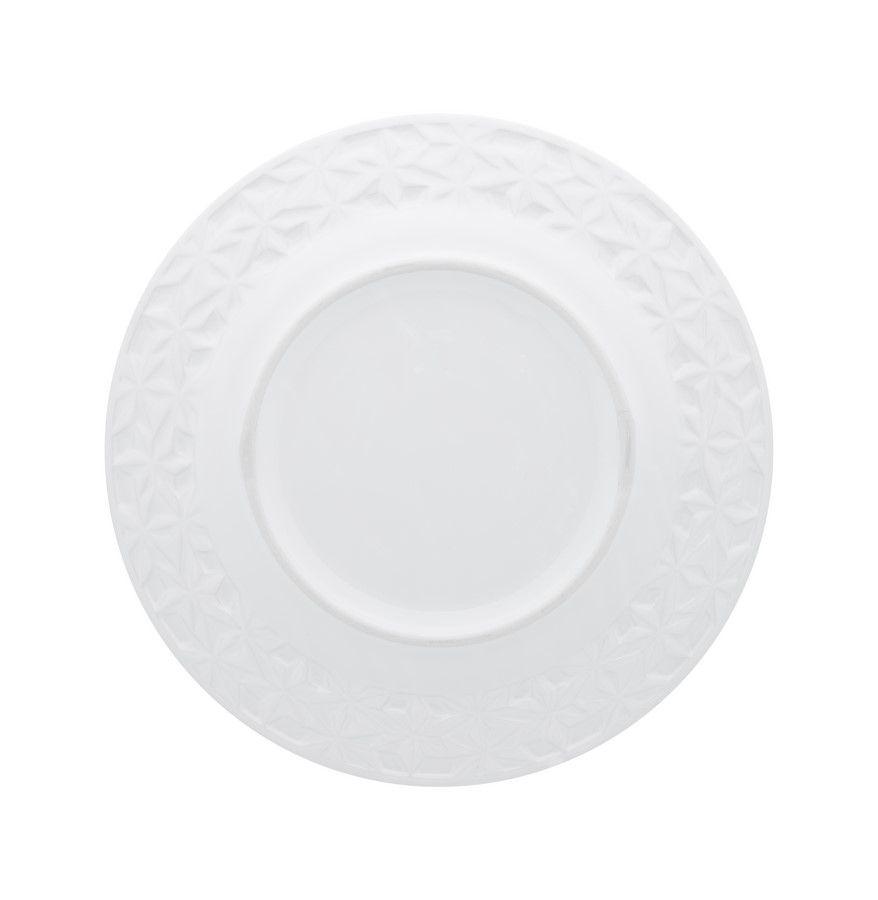 Conjunto Com 12 Pratos Rasos Tales Branco - Oxford Porcelanas