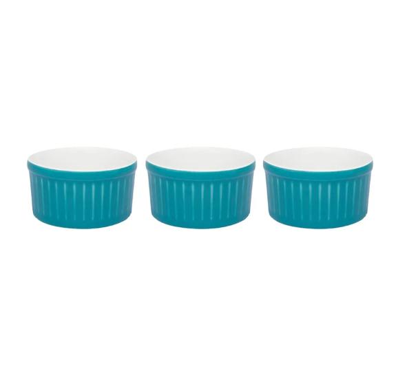 Conjunto Com 3 Tigelas Ramequin 10X5Cm 180Ml - Doce - Azul - Oxford Cookware