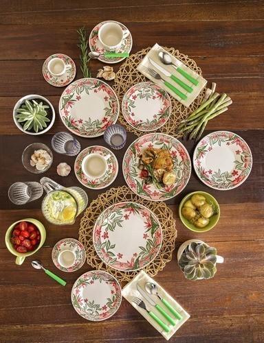 Conjunto Com 6 Pratos Sobremesa 19Cm - Jardim Tropical - Oxford Biona
