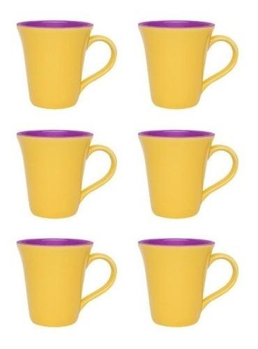 Conjunto De 06 Canecas Bicolor 330Ml - Tulipa - Amarelo/Violeta - Oxford Porcelanas