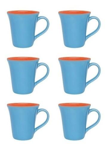 Conjunto De 06 Canecas Bicolor 330Ml - Tulipa - Azul/Laranja - Oxford Porcelanas