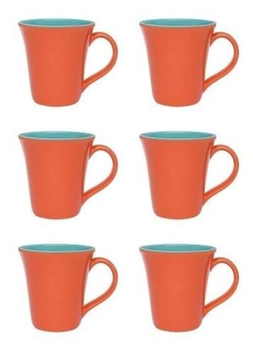 Conjunto De 06 Canecas Bicolor 330Ml - Tulipa - Laranja/Verde - Oxford Porcelanas