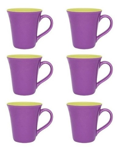 Conjunto De 06 Canecas Bicolor 330Ml - Tulipa - Violeta/Verde - Oxford Porcelanas