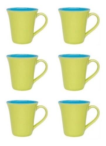 Conjunto De 06 Canecas Bicolor 330Ml - Tulipa - Verde/Azul - Oxford Porcelanas