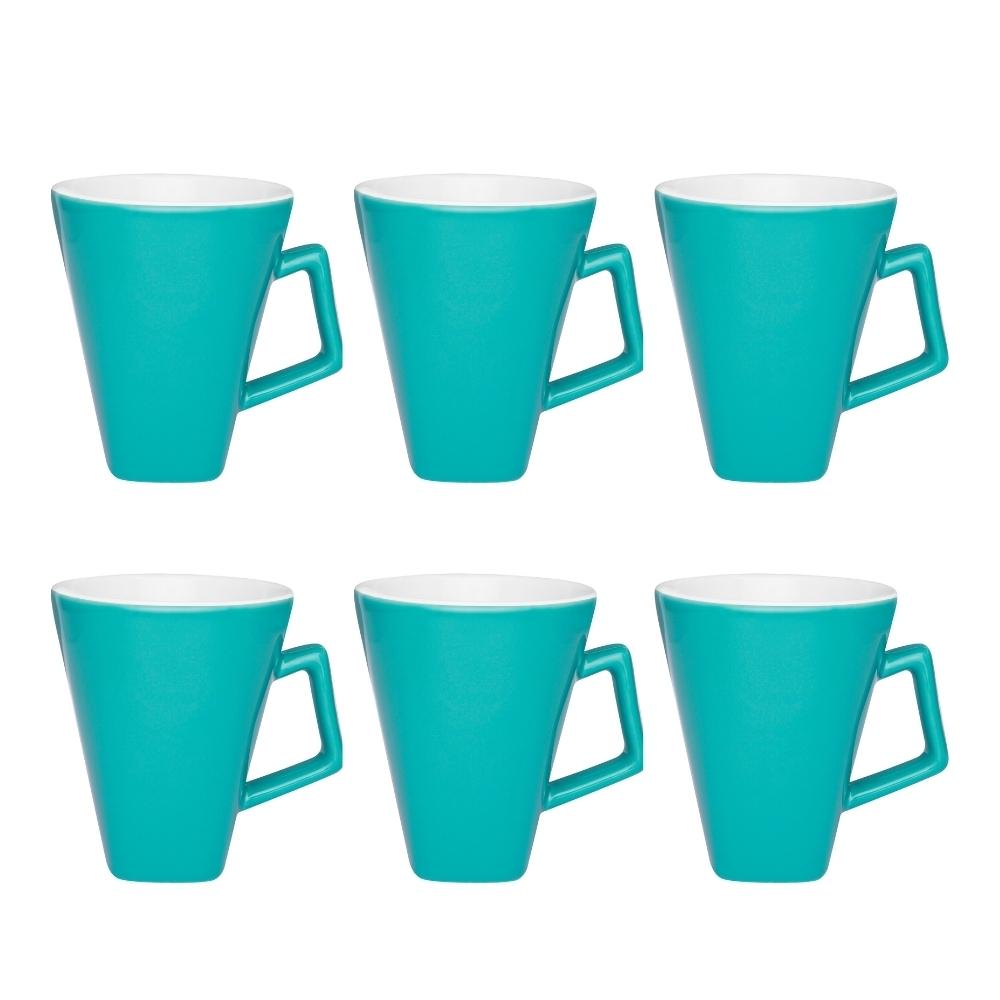Conjunto De 06 Canecas Quartier Bicolor 350Ml - Azul/Branco - Oxford Daily