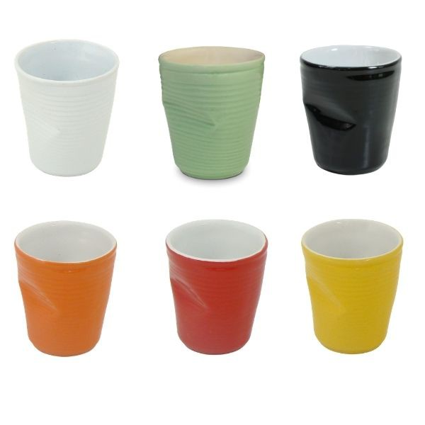 Conjunto de 06 Copos De Cerâmica Plastic 70Ml Colorido Mondoceram