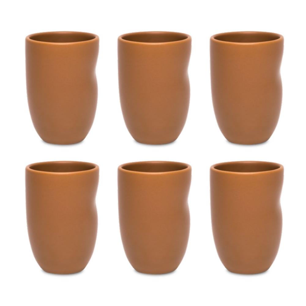 Conjunto De 06 Copos Unni 320Ml - Avelã - Oxford Porcelanas