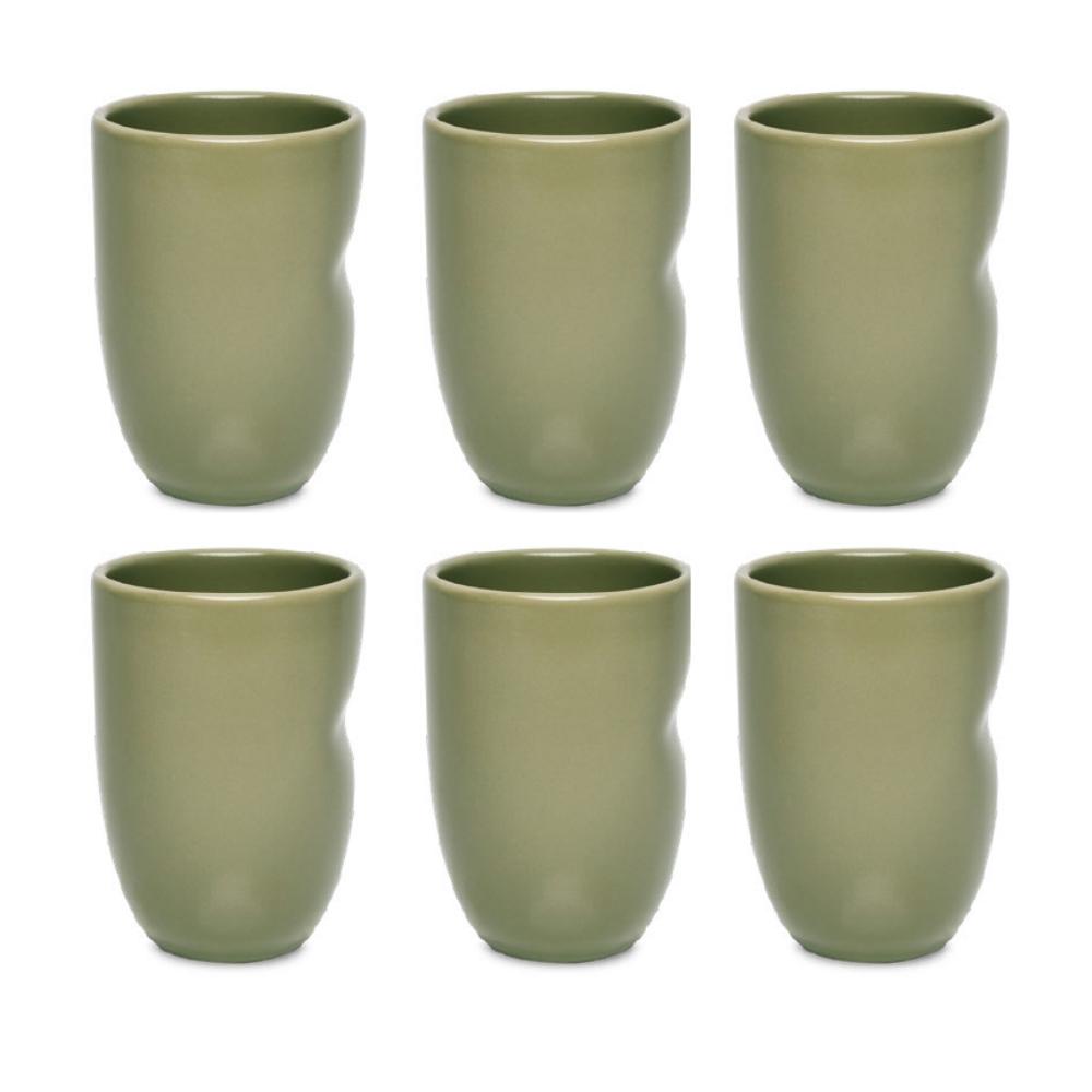 Conjunto De 06 Copos Unni 320Ml - Oliva - Oxford Porcelanas