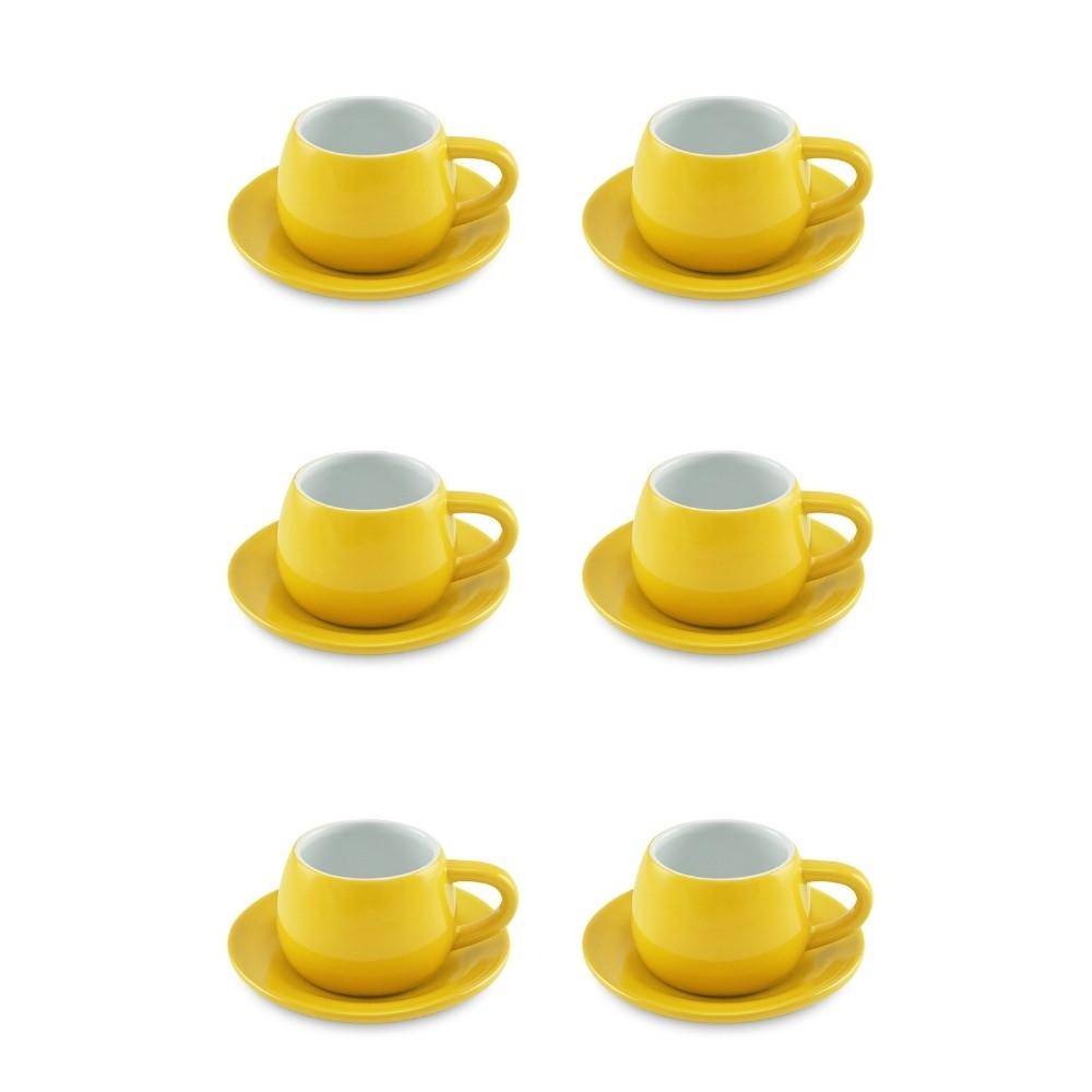 Conjunto De 06 Xícaras E Pires Tropeiro de Cerâmica Ceraflame Amarelo