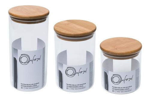 Conjunto de 3 Potes De Vidro Com Tampa De Bambu Bahia Oxford