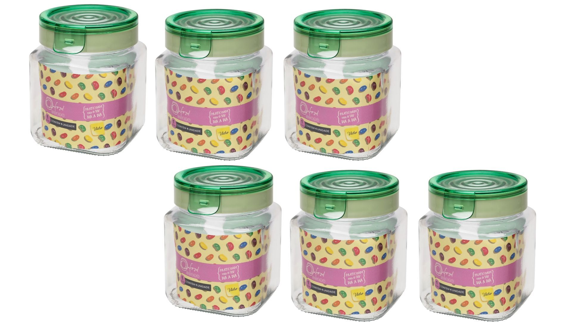 Conjunto De 6 Potes Herméticos De Vidro 1 Litro P/ Mantimentos Oxford