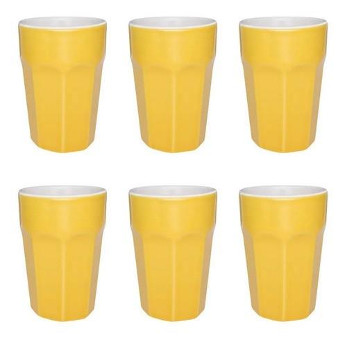 Conjunto De 6 Copos Grande 300Ml - Amarelo - Oxford Daily