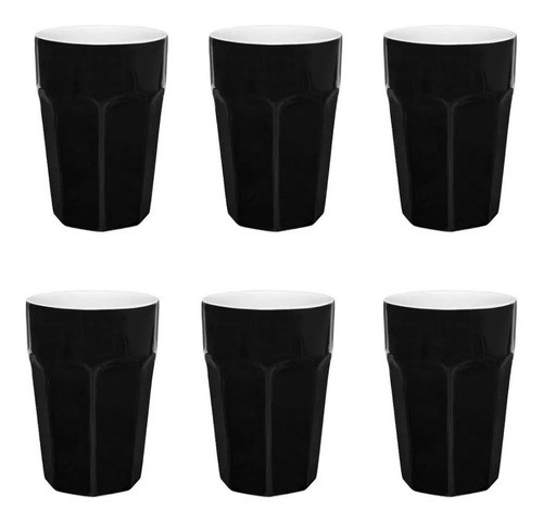 Conjunto De 6 Copos Grande 300Ml - Preto - Oxford Daily