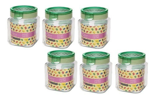 Conjunto De 6 Potes De Vidro 1 Litro P/ Mantimentos Oxford