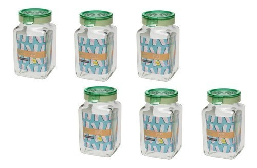 Conjunto De 6 Potes De Vidro 2 Litros P/ Mantimentos Oxford