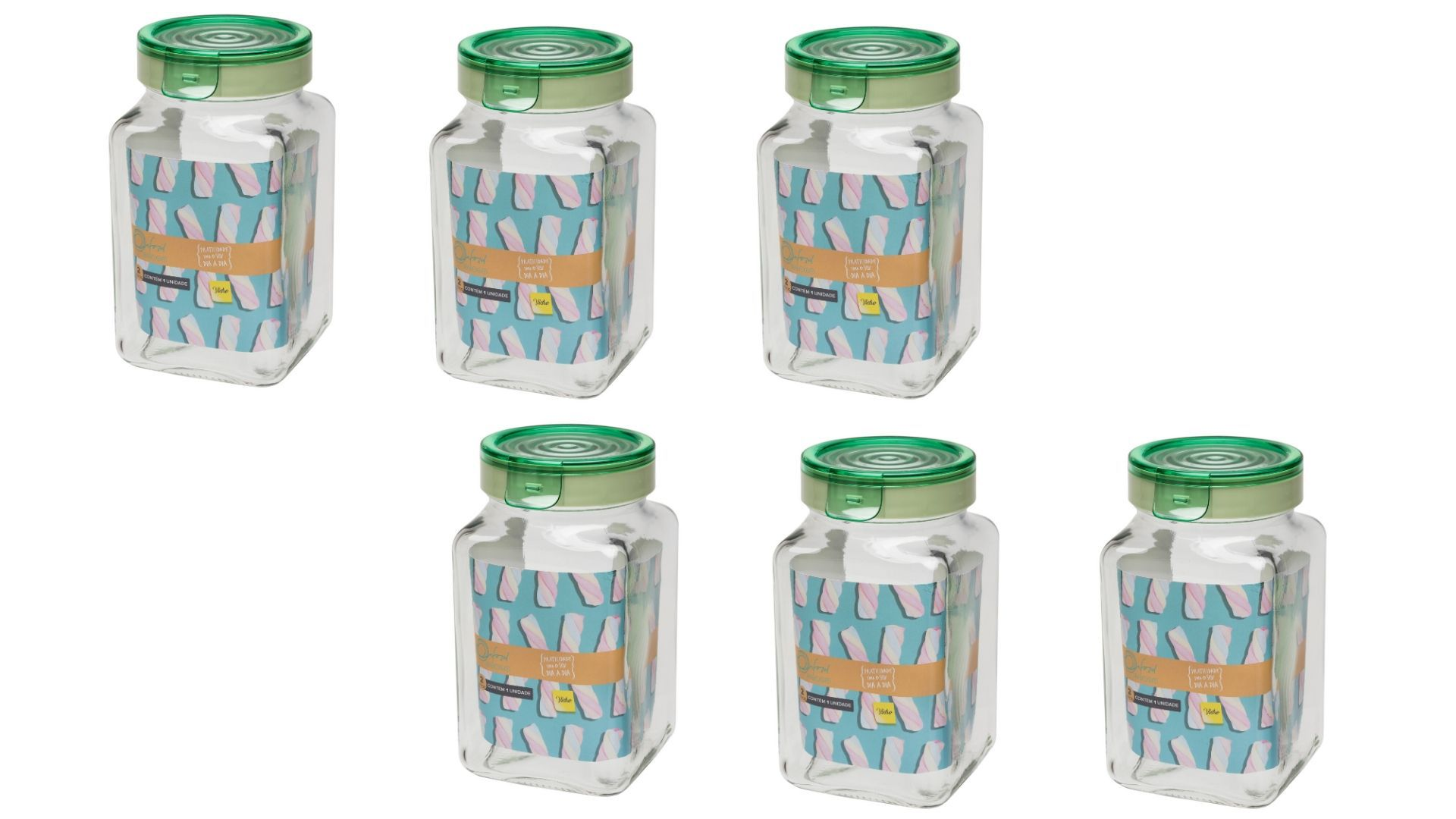 Conjunto De 6 Potes Herméticos De Vidro 2 Litros P/ Mantimentos Oxford