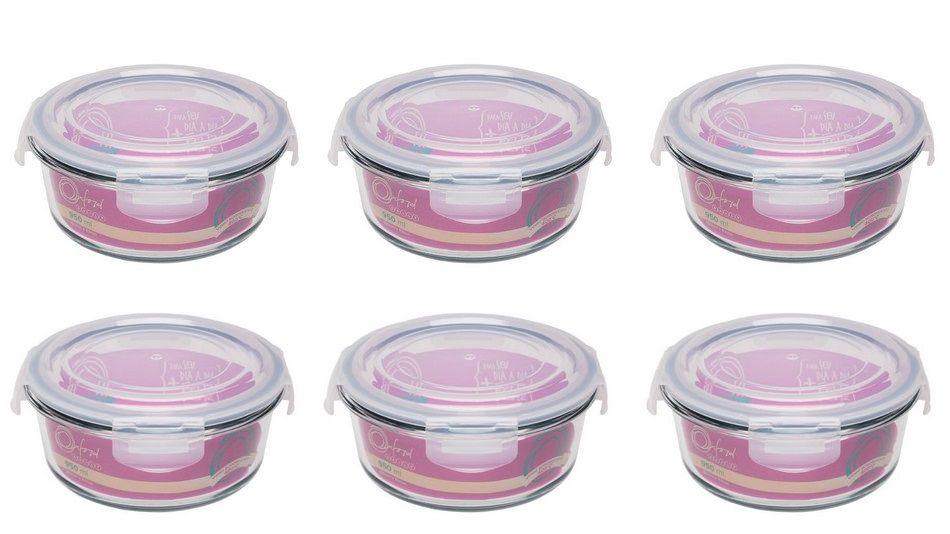 Conjunto De 6 Potes Herméticos De Vidro Temperado Redondo 950Ml- Oxford Daily