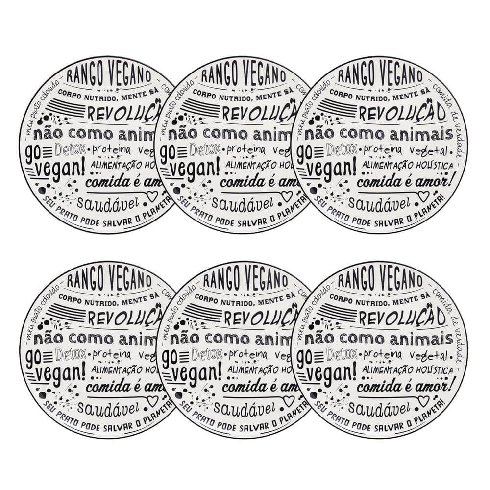 Conjunto De 6 Pratos Rasos 26cm Vegano Oxford Porcelanas