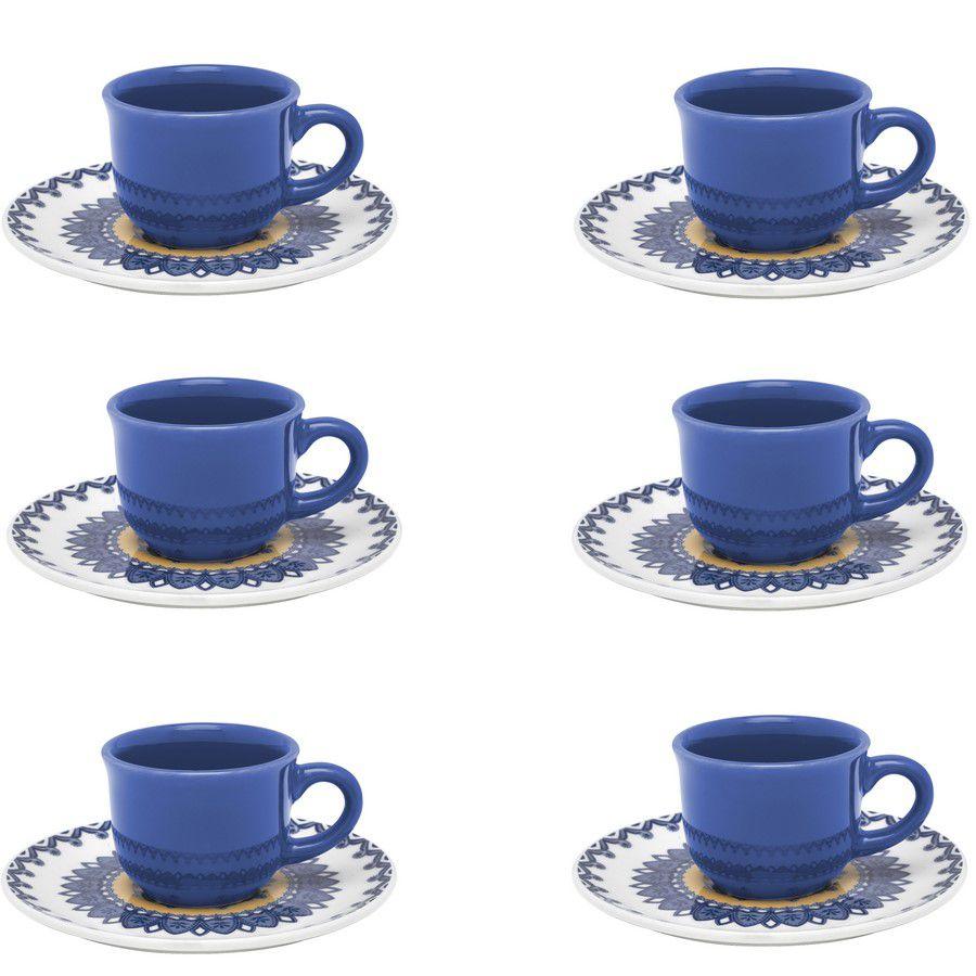 Conjunto De 6 Xícaras Pequenas 65 Ml Com Pires Floreal La Carreta - Oxford Porcelan